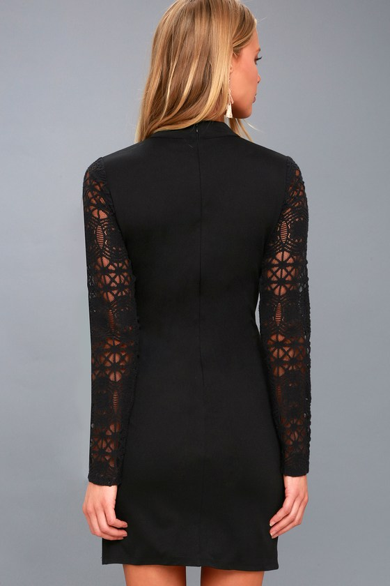 Lace up long sleeve bodycon dress black