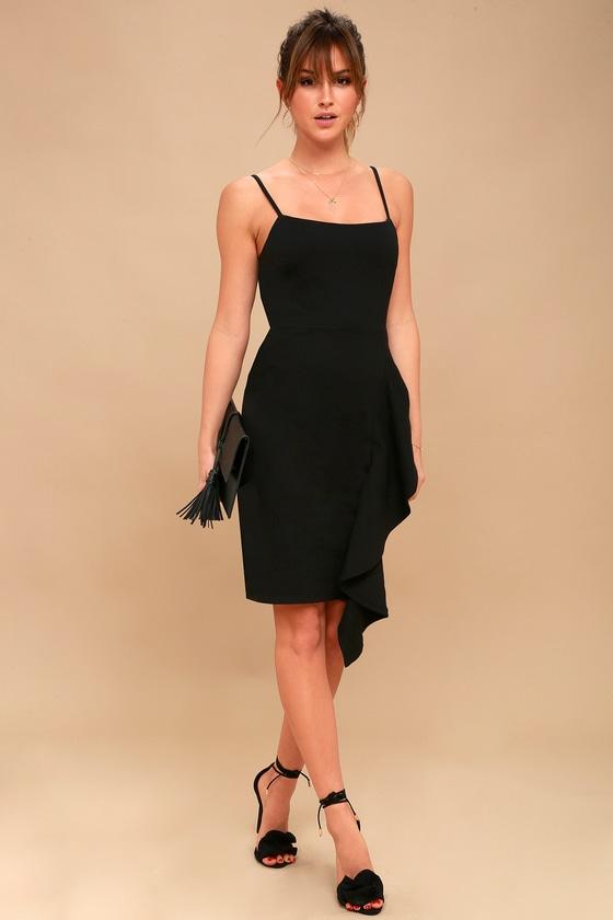 bdd4339a76b Chic Bodycon Dress - Ruffled Midi Dress - Little Black Dress
