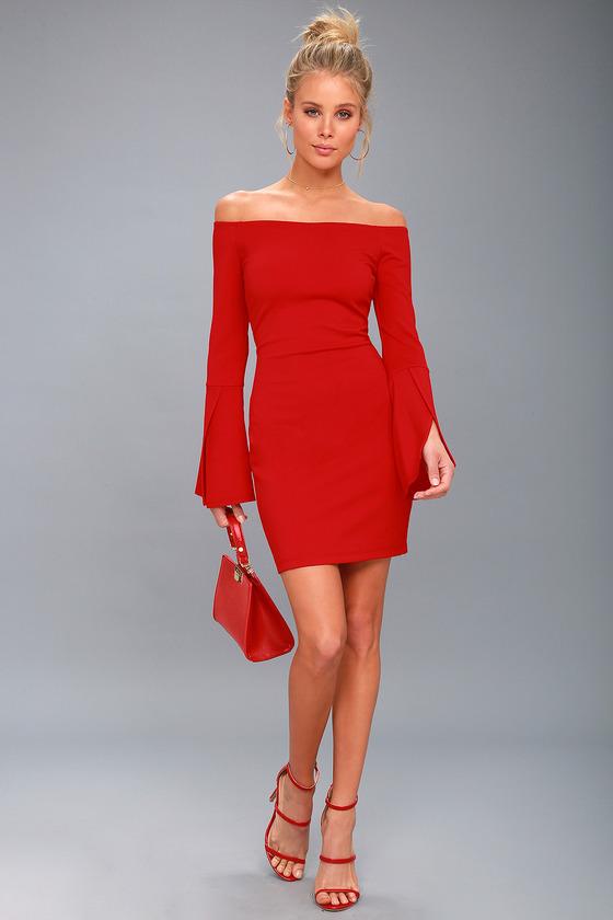 Chic Off The Shoulder Dress Bell Sleeve Dress Red Dress
