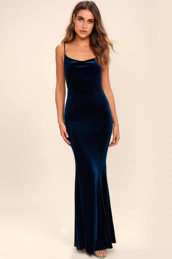 Sorceress Navy Blue Velvet Maxi Dress