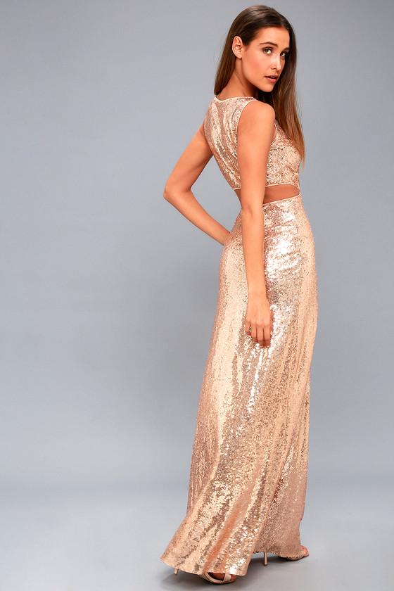 Lovely Rose Gold Sequin Maxi Dress - Cutout Maxi Dress
