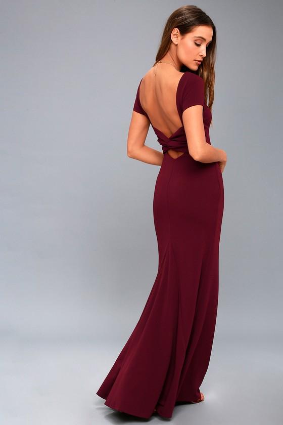 Stunning Burgundy Maxi Dress Short Sleeve Backless Dress