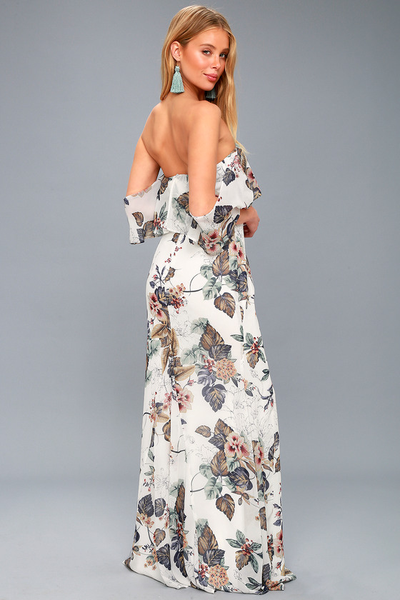 Lovely White Floral Print Dress - Off-the-Shoulder Maxi