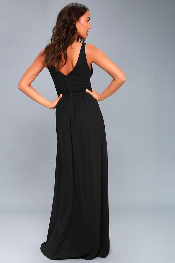 Elegant Maxi Dress - Black Dress - Plunging Maxi Dress