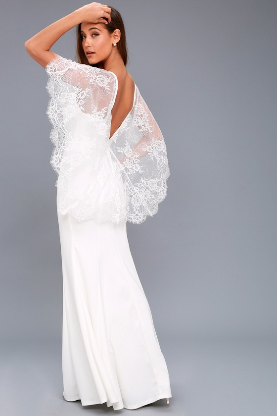 Lovely White Dress - Lace Dress - Maxi Dress - Cape Dress