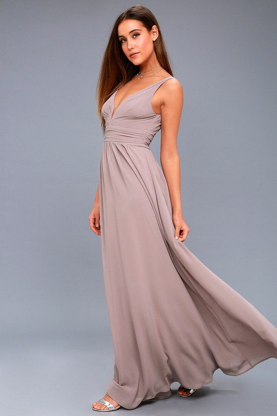 Elegant Maxi Dress - Taupe Dress - Plunging Maxi Dress