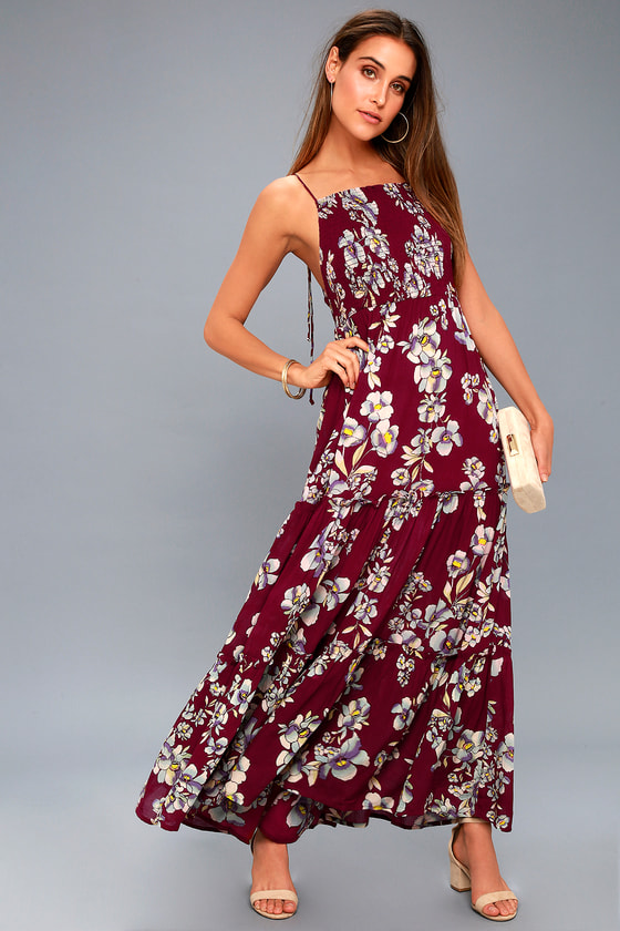 garden party burgundy floral print maxi dress - Garden Party Dress