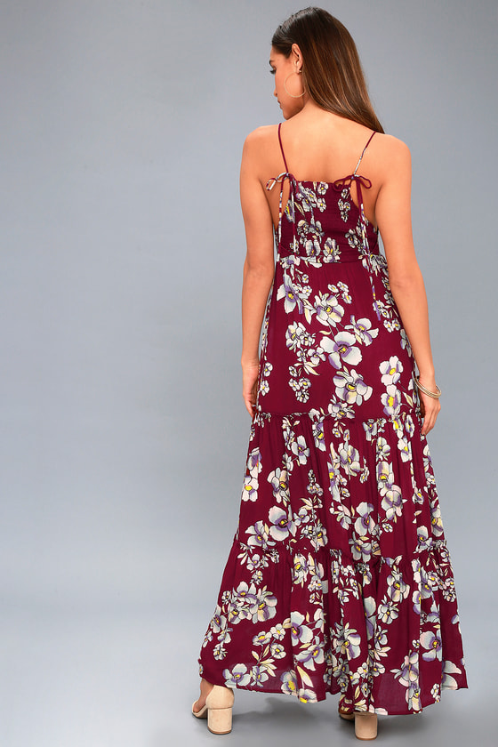 Free People Garden Party Dress Burgundy Floral Print Dress