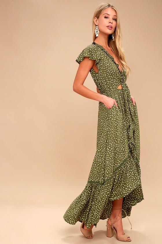 Kivari Capri Spot Tie Olive Green Polka Dot Dress