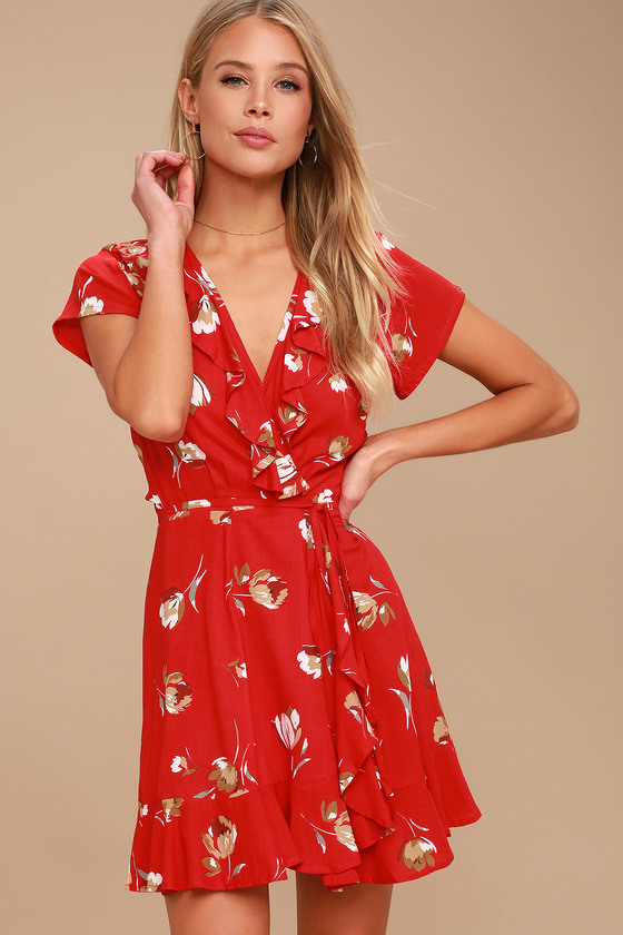 Kivari Romance Red Floral Print Dress Wrap Dress