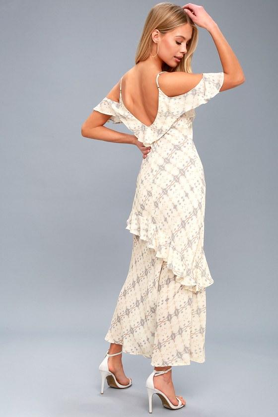 ASTR the Label Laurel - Cream Print Midi Dress