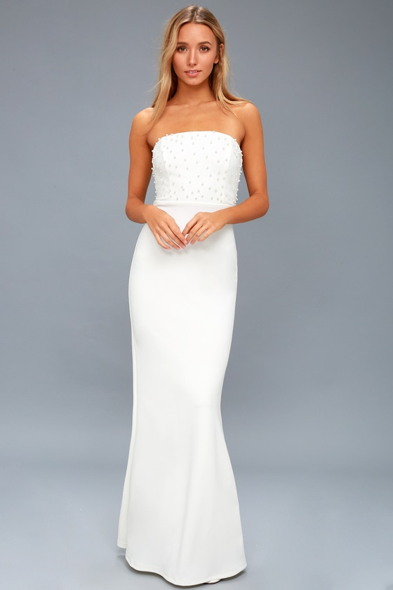 Stunning White Dress - Pearl Dress - Strapless Maxi Dress