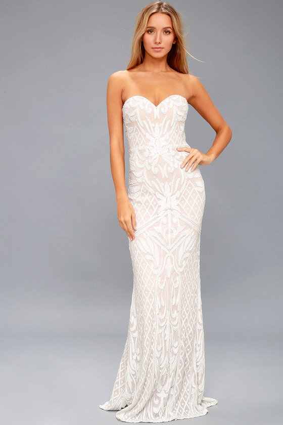 White Sequin Dress - Strapless Gown - Sequin Maxi Dress