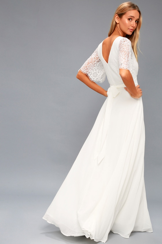 58% off ----white lace maxi dress,wedding dress,party dress,long ...