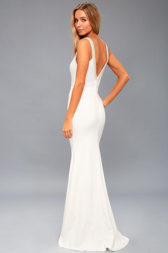 Stunning Beaded Maxi - White Maxi Dress - Mermaid Maxi Dress