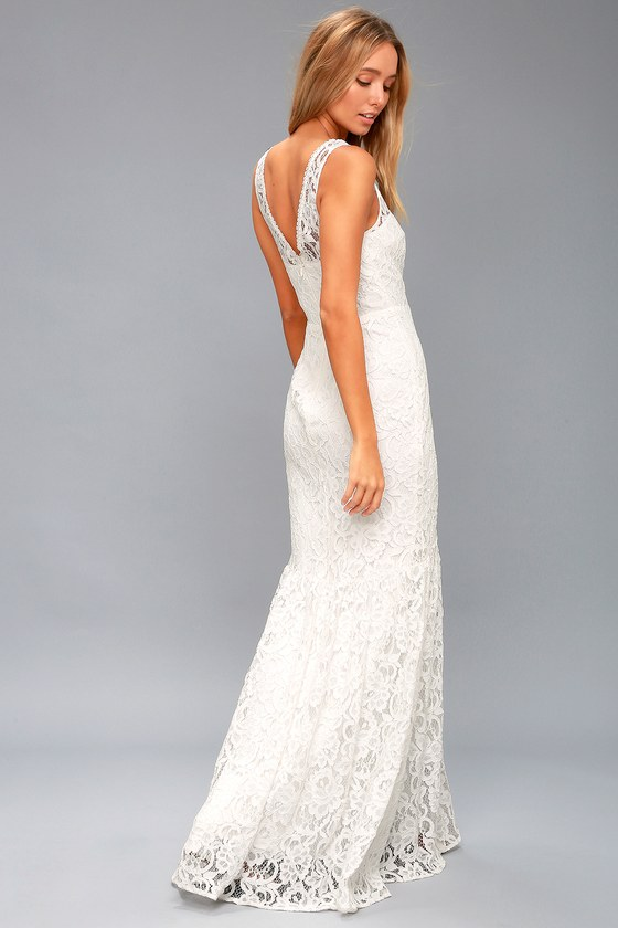 Chic Lace Maxi Dress - Bridal Dress - White Maxi Dress