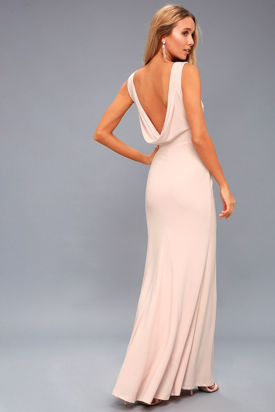 Lovely Blush Pink Dress Maxi Dress Backless Dress