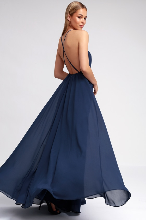 Beautiful Navy Blue Dress Maxi Dress Backless Maxi Dress