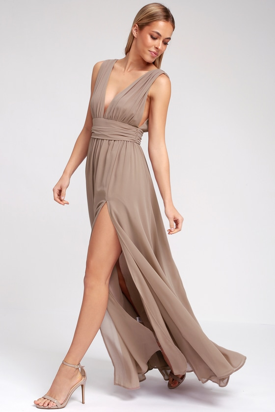 Taupe Gown - Maxi Dress - Sleeveless Maxi