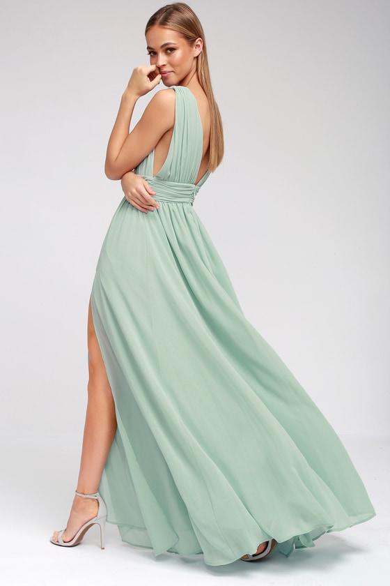 Mint Green Gown - Maxi Dress - Sleeveless Maxi Dress