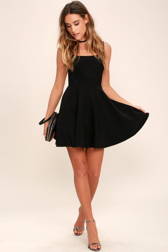 7cc9c8c3ab Pretty Black Dress - Skater Dress - LBD