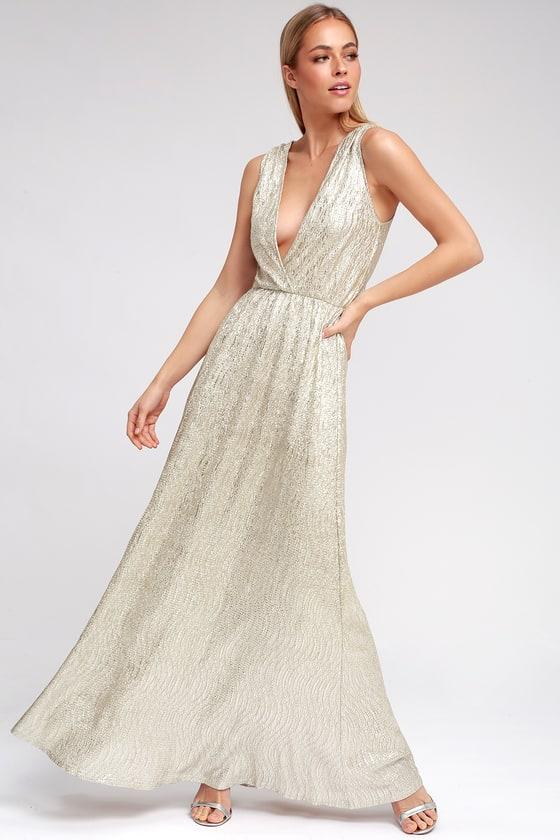 Gold Dress - Maxi Dress - Metallic Dress - Silver Dress