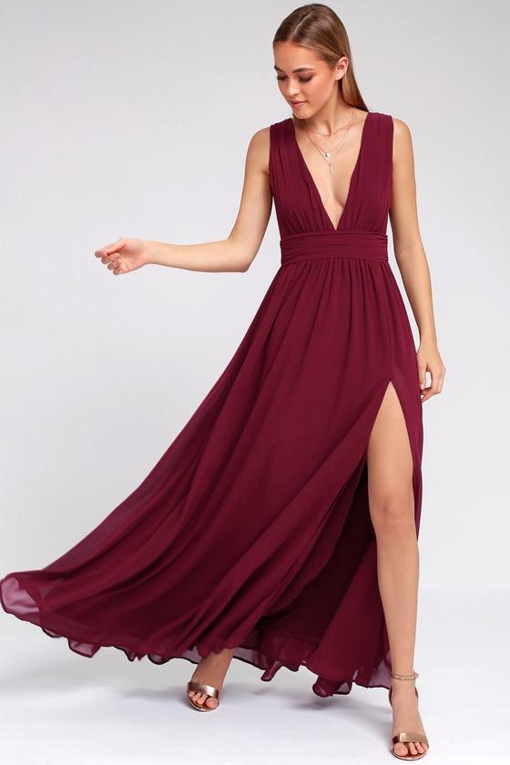 Burgundy Gown - Maxi Dress - Sleeveless Maxi Dress