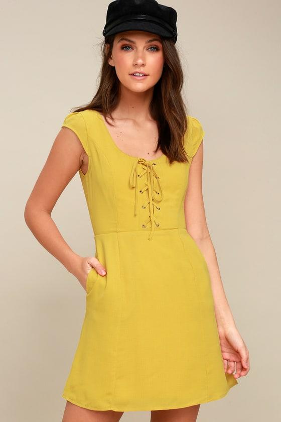Cute Lace Up Dress Mustard Yellow Dress Skater Dress