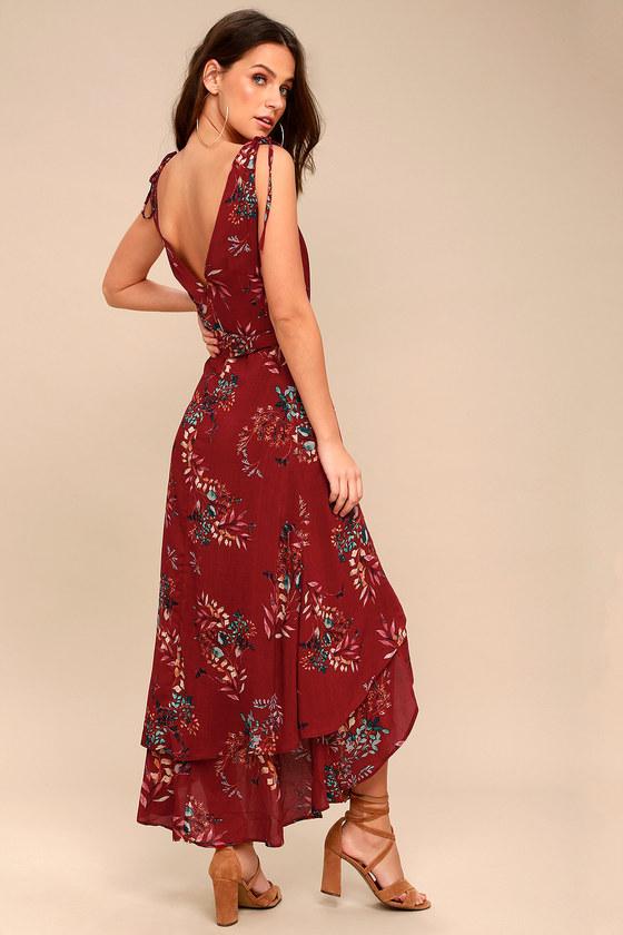 Lovely Burgundy Dress Floral Print Dress Wrap Maxi Dress
