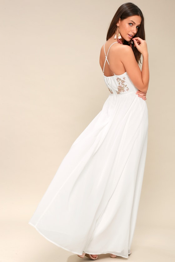 Chic White Maxi Dress - Embroidered White Maxi Dress
