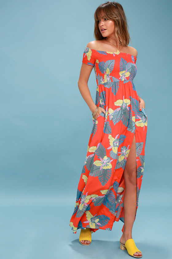 Patsy Coral Red Floral Print Off-the-Shoulder Dress 1