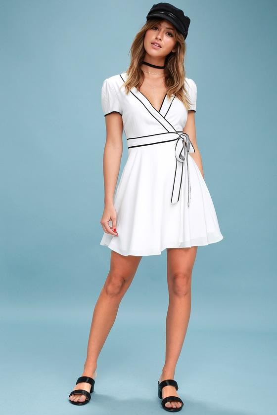 f70a1423b3 Chic Black and White Dress - Wrap Dress - Mini Dress