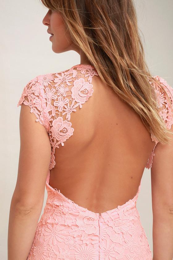 chic blush pink lace dress backless lace dress