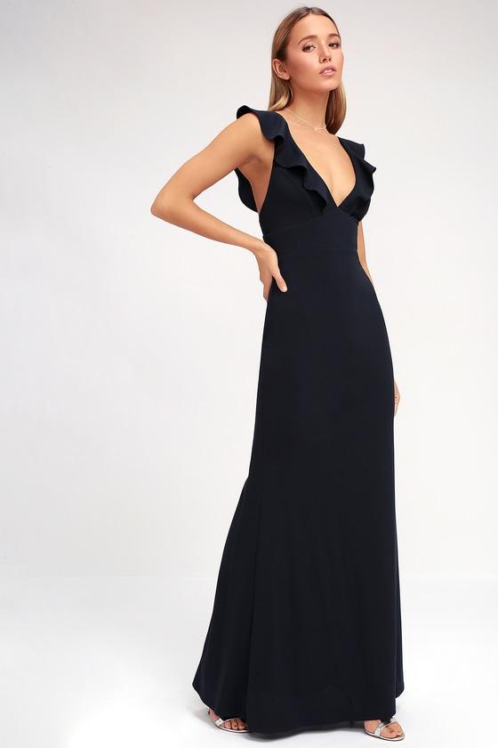 Lovely Navy Blue Dress - Maxi Dress - Mermaid Maxi - Gown - $98.00