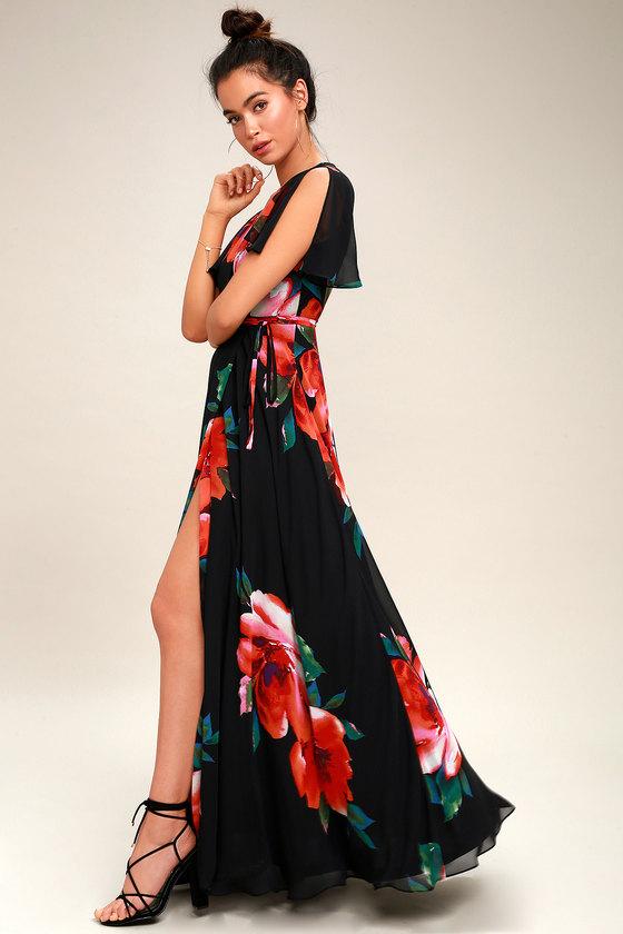 Stunning Black Floral Print Dress Wrap Dress Maxi Dress
