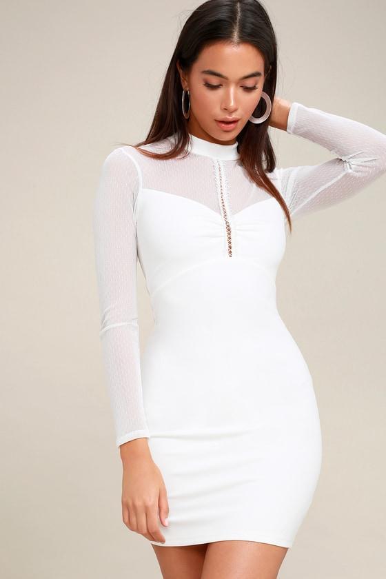 Bodycon sleeve white valve long dress