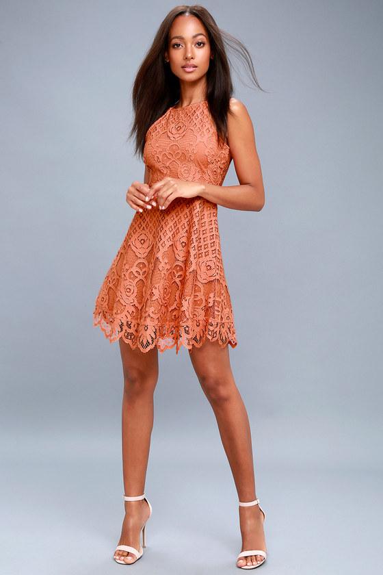 Black Swan Charlotte - Coral Pink Dress - Lace Skater Dress