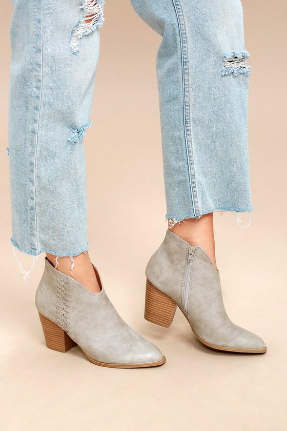 Lulus Elliot Light Grey Ankle Booties - Lulus wqJH0G