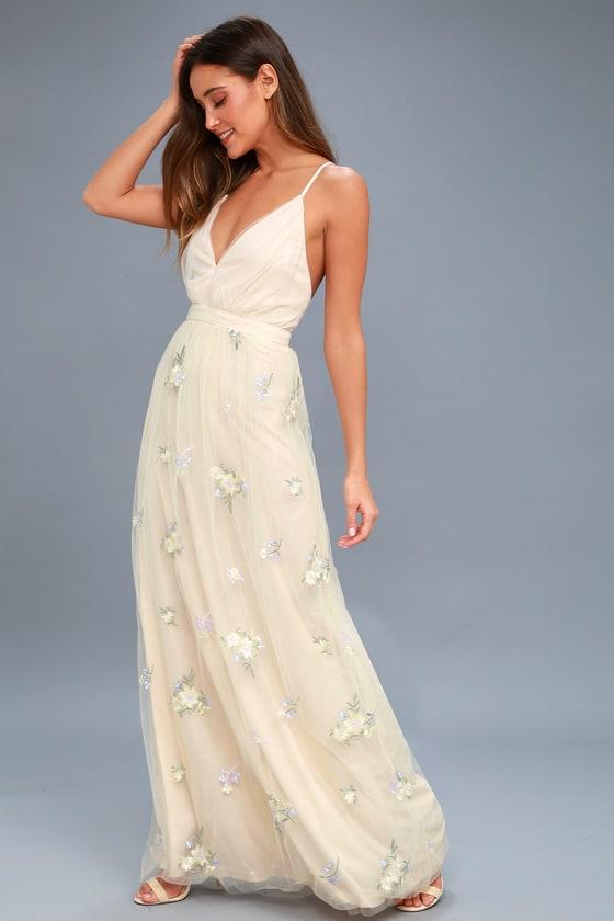 Lovely Tulle Dress - Beige Embroidered Dress - Floral Dress