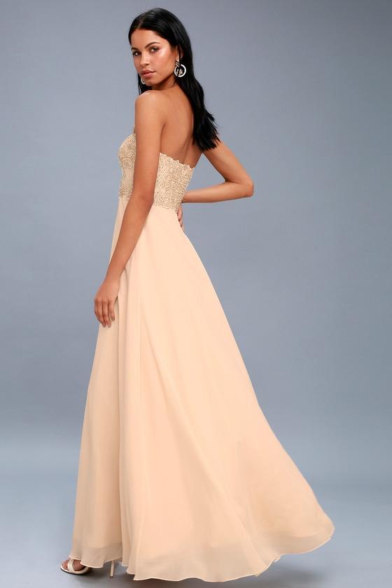 Elegant Champagne Dress Strapless Rhinestone Maxi Dress
