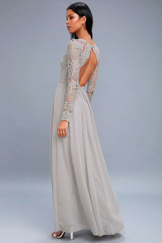 Lovely Light Grey Dress Lace Long Sleeve Maxi Dress