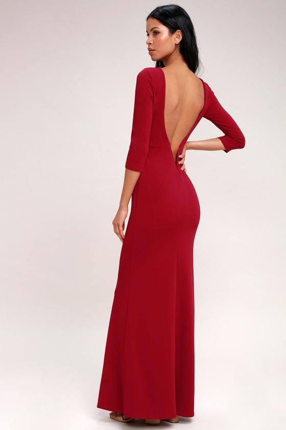 Elegant Wine Red Maxi Dress Wine Red Backless Maxi Dress