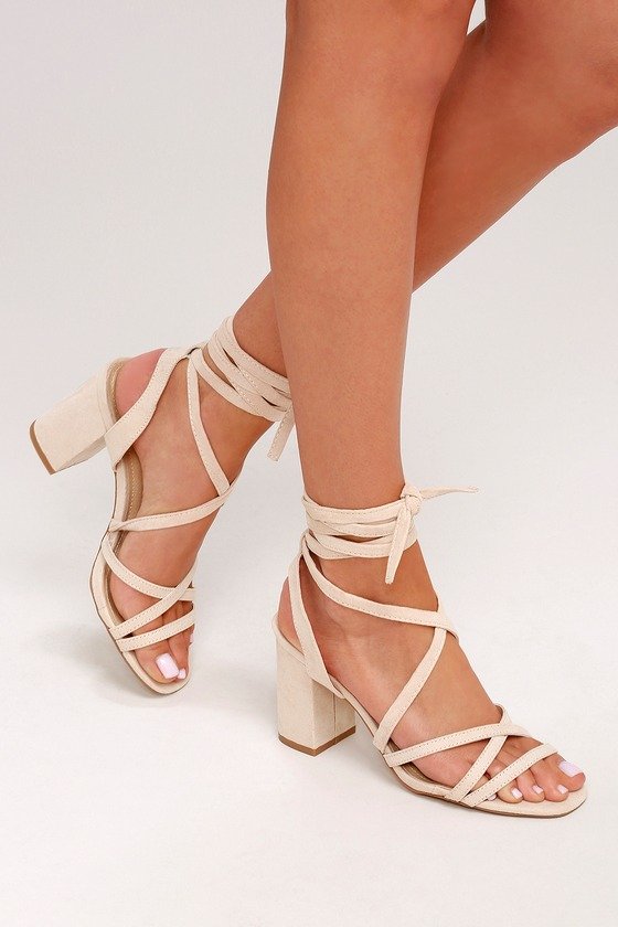 Nude Pu Lace Up Square Toe High Heel | Shoes