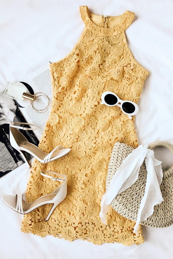 lace dress yellow dress sleeveless dress