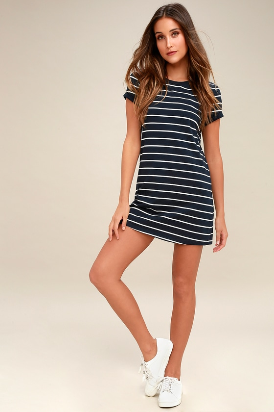 813dab655bc Chic Navy Blue Striped Dress - T-Shirt Dress - Shift Dress