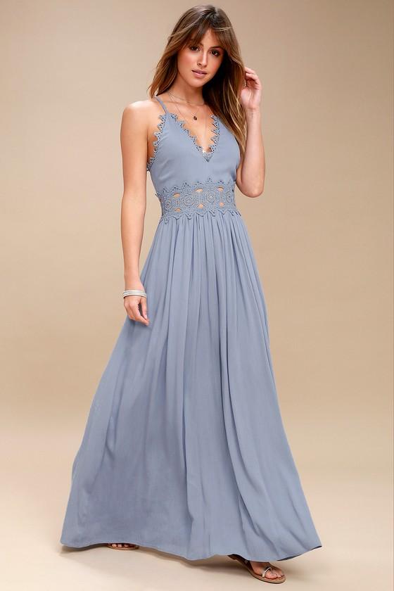 Slate Blue Maxi Dress - Lace Maxi Dress - Plunge Neck Maxi