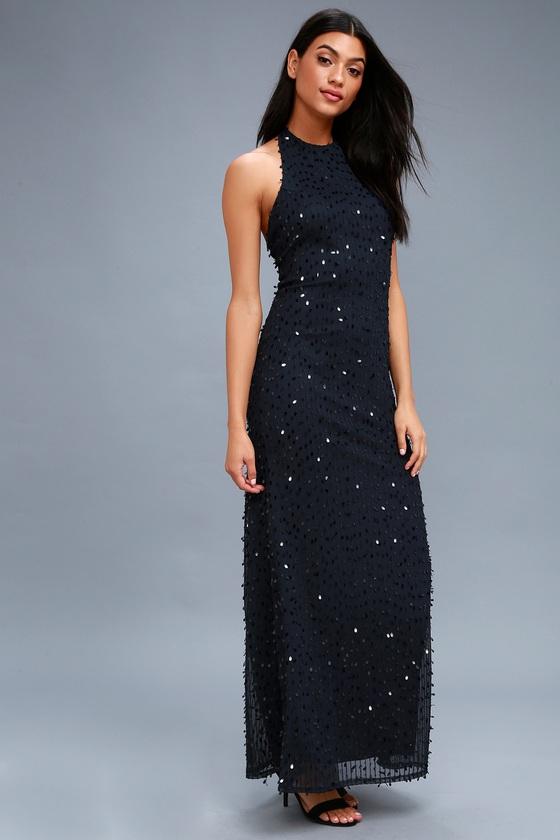 Chic Navy Blue Dress - Sequin Dress - Navy Blue Maxi Dress