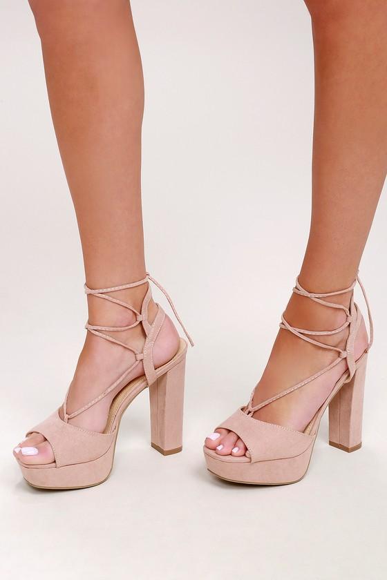 10f35dc7ddd732 I Slay Nude Suede Lace-Up Platform Heels