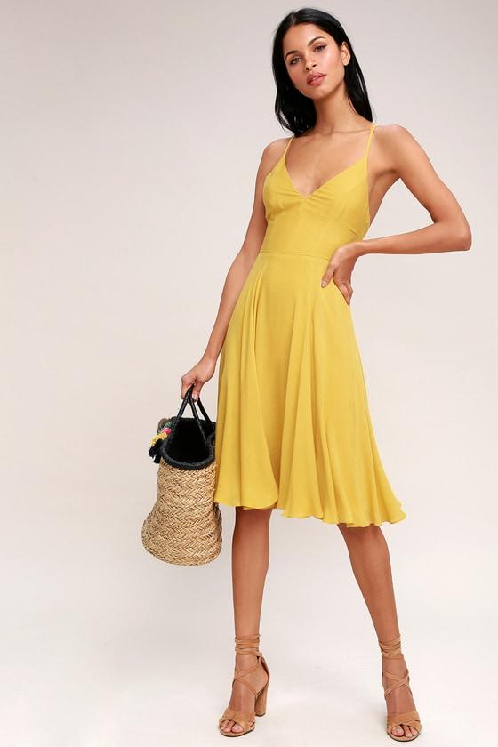 b86b32d690eb Chic Midi Dress - Mustard Yellow Dress - Lace-Up Dress