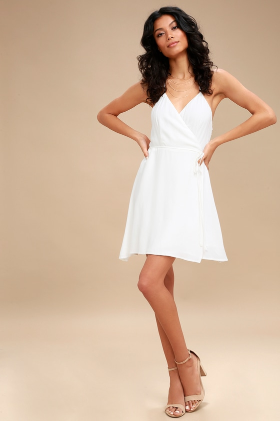 7db1c6634546 Cute White Wrap Dress - Backless Wrap Dress